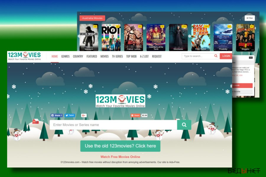 A printscreen of 0123movies.com virus