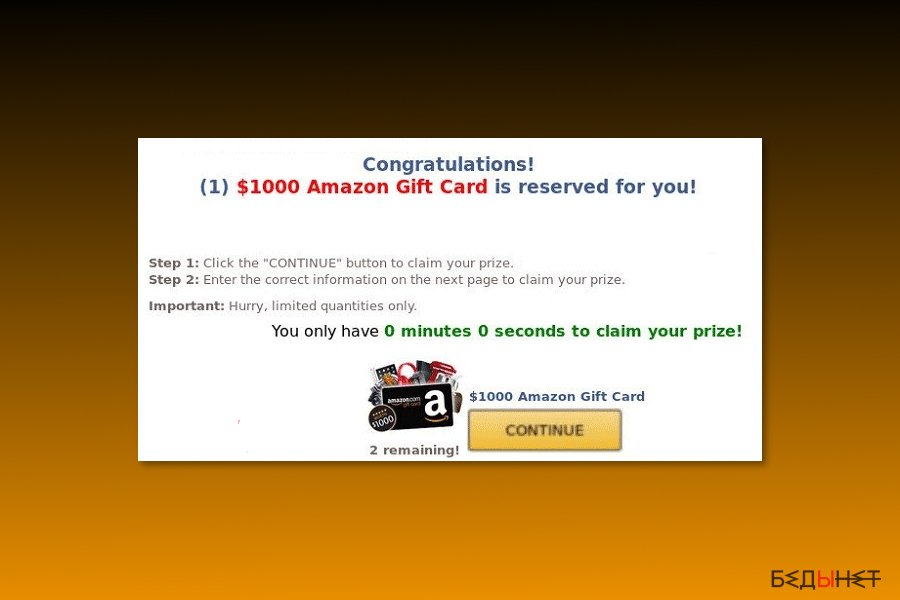 "Пример ""$1000 Amazon Gift Card is reserved for you"" вируса"