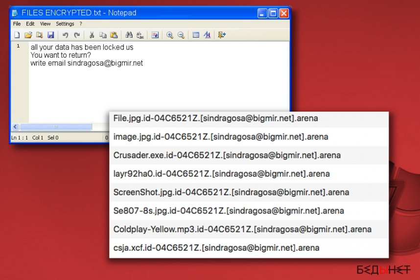 Arena ransomware note FILES ENCRYPTED.txt