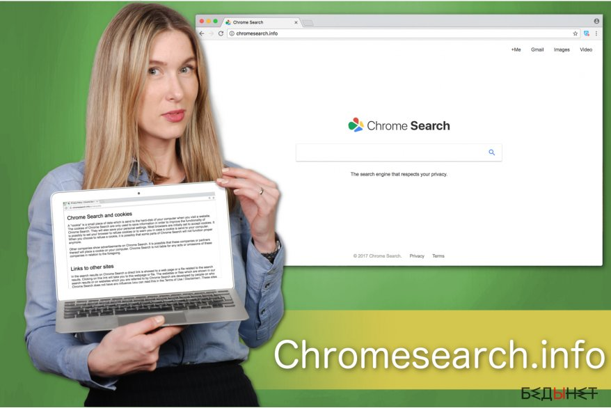 The illustration of Chromesearch.info search engine