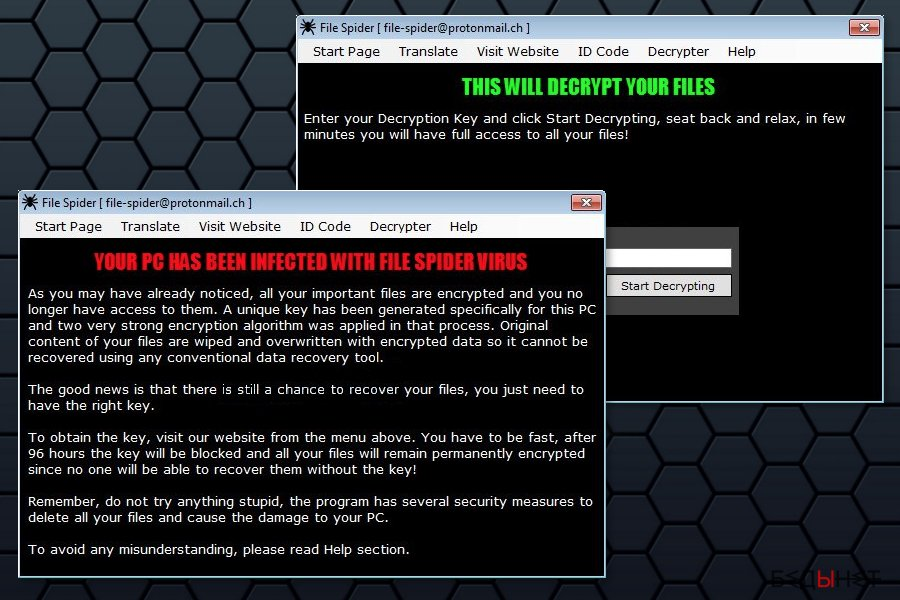 File Spider ransomware ransom note