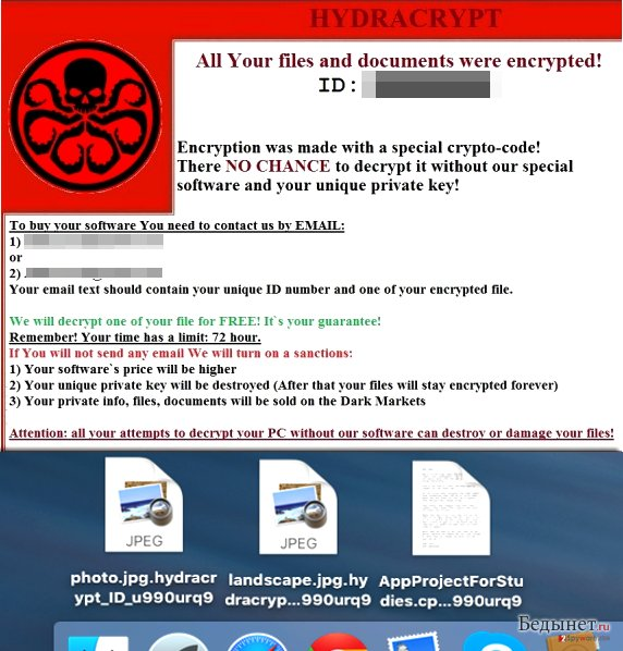 Screenshot of HydraCrypt ransom note and infected files
