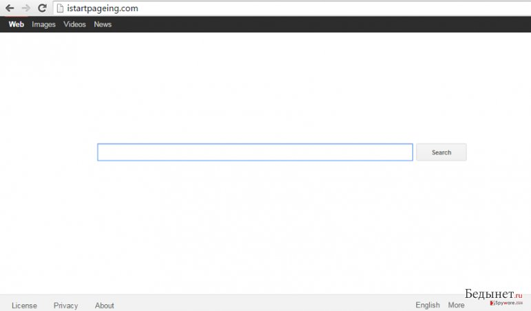 an example of the main page that belongs to Istartpageing.com browser hijacker