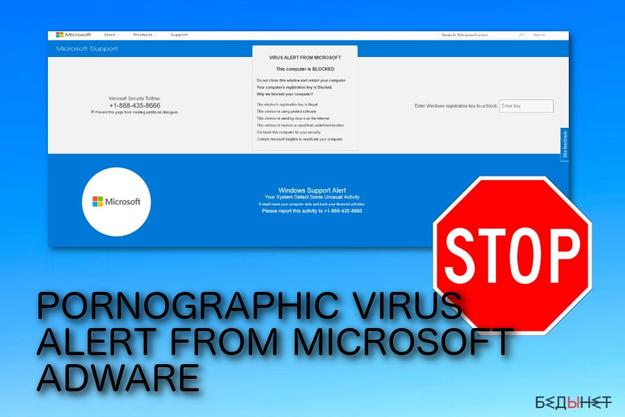 Появляющаяся афера PORNOGRAPHIC VIRUS ALERT FROM MICROSOFT