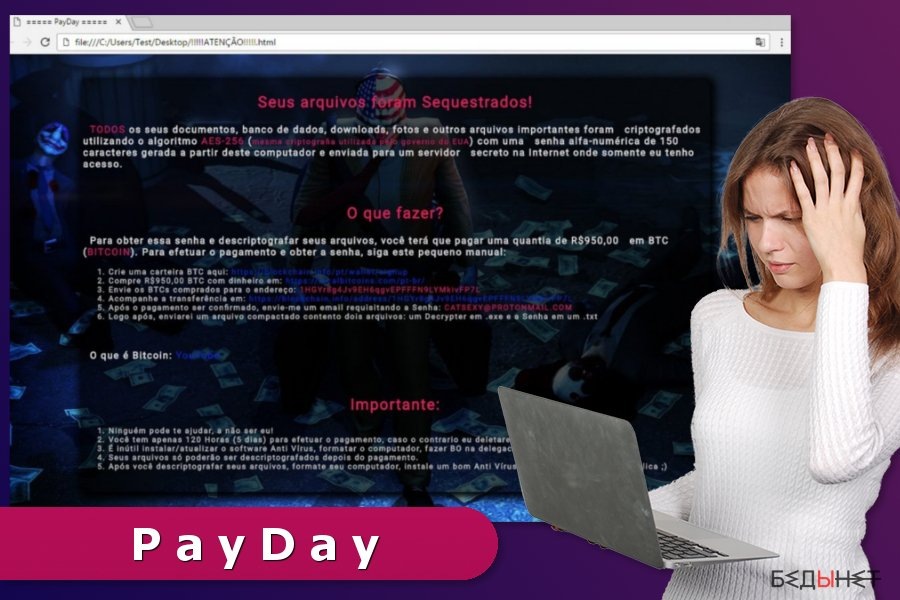 The ransom note by PayDay ransomware virus