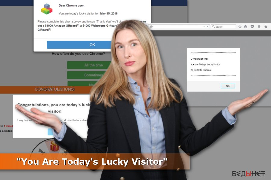 """""""You Are Today's Lucky Visitor"""" объявления"""