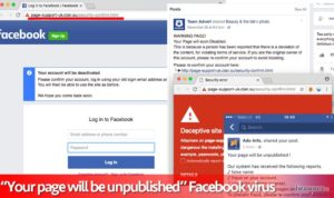Your page will be unpublished Facebook вирус